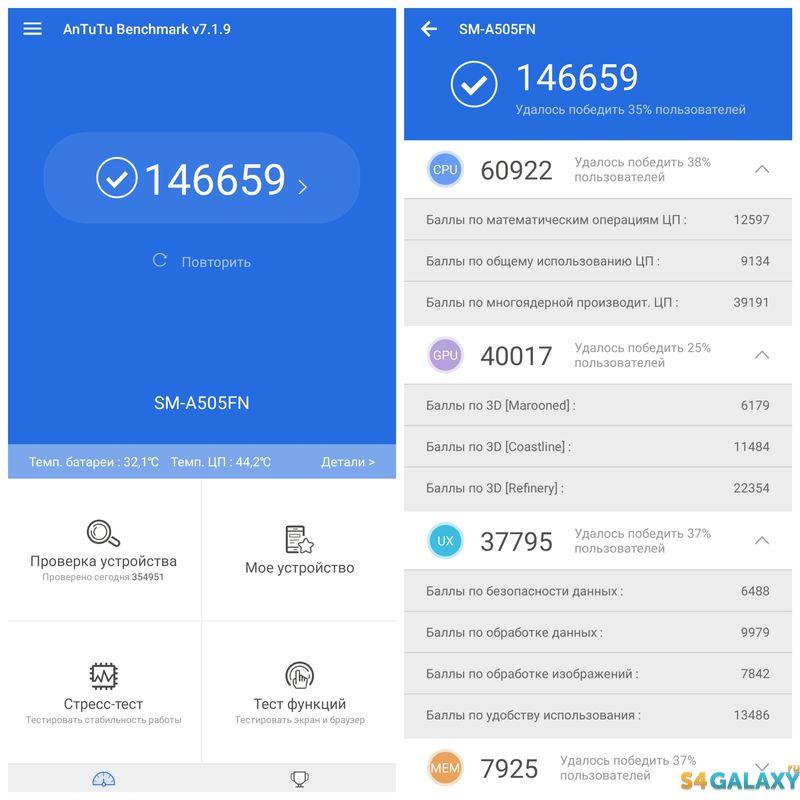 Samsung Galaxy A50 AnTuTu первый прогон