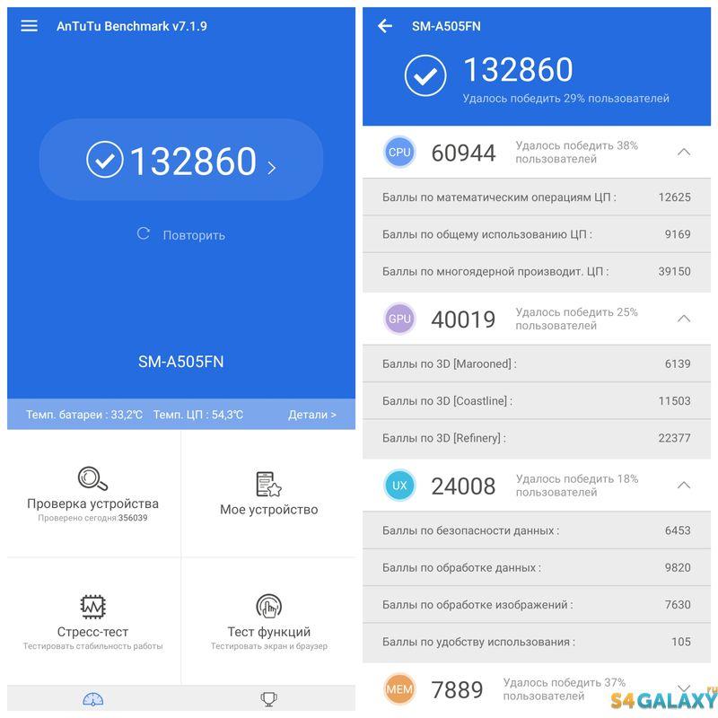 Samsung Galaxy A50 AnTuTu второй запуск теста