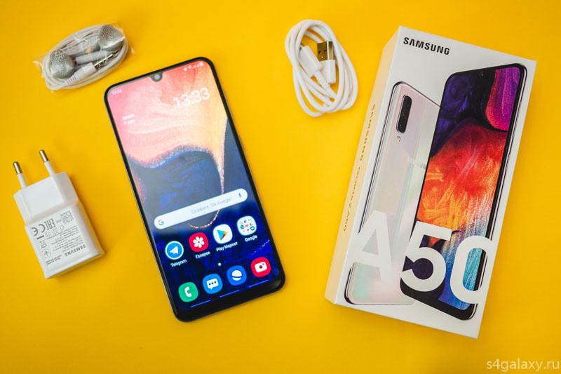 Samsung Galaxy A50 комплект поставки и распаковка